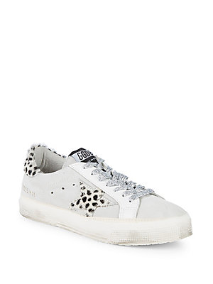 Golden Suede Calf Goose Top Low Trimmed Suede Sneakers Leopard Hair xIrIpTFq