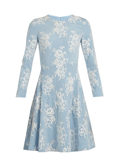 Lace Floral Cotton Zhang Kiera Dress Light Blend Blue Huishan 4XRqPxwT