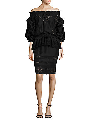 Faith Off Silk Black Shoulder The Connexion Dress Ruffled arqwEga