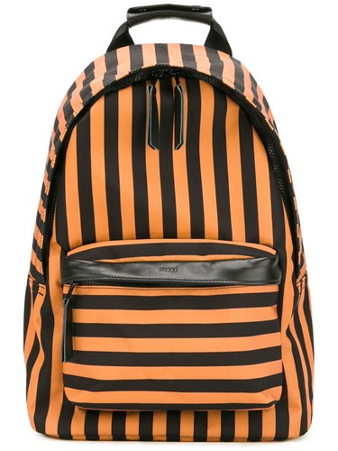 AMI Alexandre Mattiussi Zipped Backpack Men Leather Polyester One Size Yellow Orange 5XMMWoN