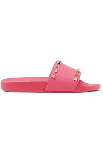 Valentino The Rockstud Rubber Slides Bubblegum DlSs0xSmVh