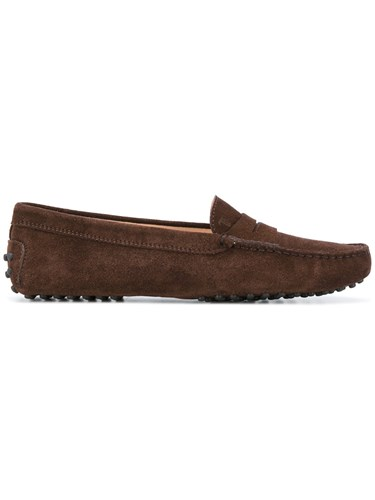 Tod's Textured Flat Heel Loafers Women Leather Suede Rubber 39.5 Brown 07ZjfvEl