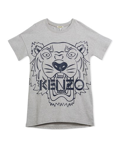 8 Drop Size Graphic W 12 Face Tiger Dress Oversized Shoulder Gray Kenzo vwqUgBB