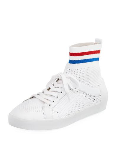 Ash Knit Mesh Lace Up Sneaker White Red Mt4orfGWo