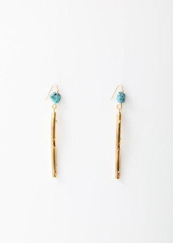 Metal And Resin Rod Earrings Gold