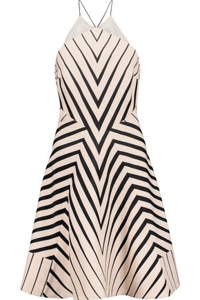 Halston Striped Twill Mini Dress Ecru sxb7gAI