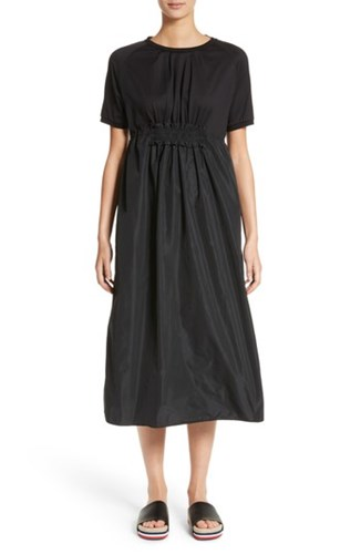 Abito Shirred Midi Moncler Dress 'S Black R5qzTz