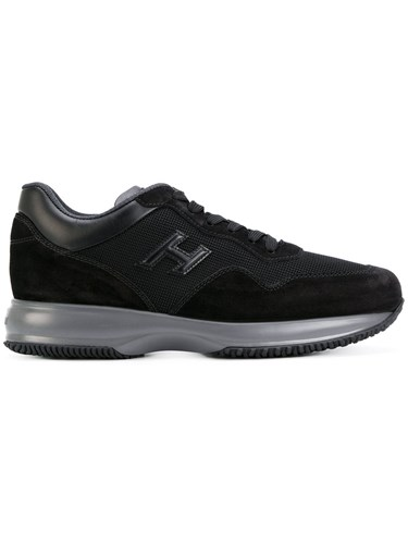 Upper Black Rubber Hogan Polyester Suede Contrast Leather Sneakers 5BrS0Bq