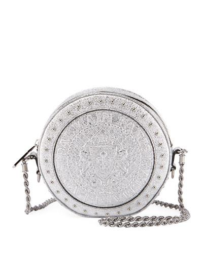 Bag Balmain Crossbody Circle Silver Metallic Leather qfnf6Hw7