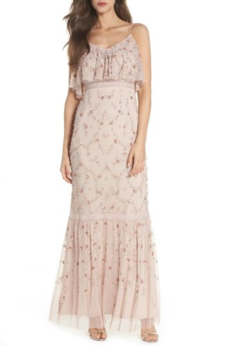 Adrianna Embellished Popover Mesh Blush Gown Papell 48prqw4