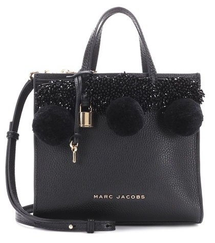 Beads Black Pom Marc Poms And Tote Little Leather Jacobs Big Shot TqfS5fvx