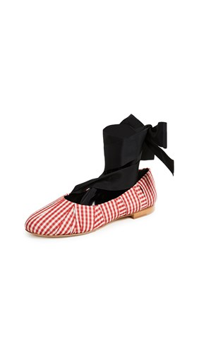 Sylvie Cream Trademark Red Gingham Flats Ballet 6xCq8