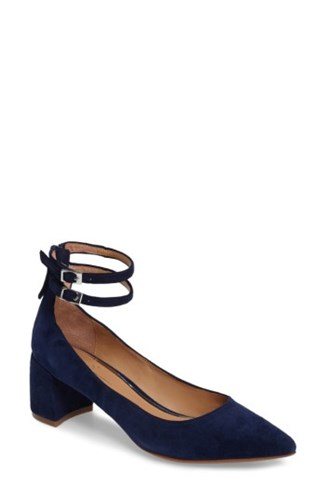 Linea Paolo Women's 'Noel' Pointy Toe Ankle Strap Pump Navy Suede YVH1P6rbuY