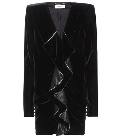 Laurent Saint Minidress Black Velvet Embellished vOq1xnwfO