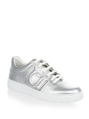 Lace Leather Ferragamo Up Sneakers Silver Salvatore qvnZFzWw