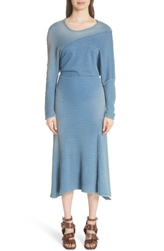 Indigo Waffle Sweatshirt Atlein Knit Dress IT1U0