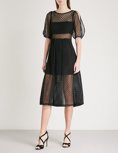 Sandro Cold Shoulder Cutout Lace Dress Noir VWJbu