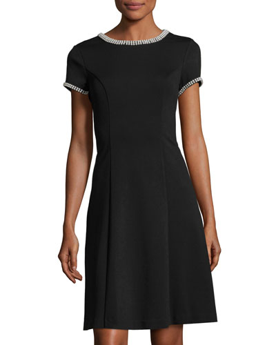 Karl Lagerfeld Bead Trim Fit And Flare Dress Black PaRApa