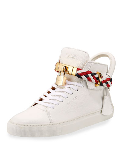 Buscemi Men's 100Mm Leather Mid Top Sneaker With Woven Strap White 48LLT