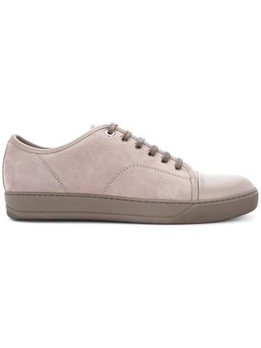Leather Neutrals Plastic Calf Toe Nude Capped Lanvin Leather Sneakers pqAPx8z