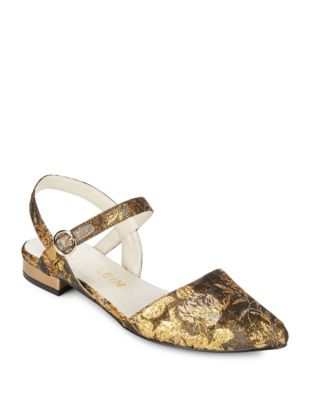 Anne Embroidered Gold Slingback Odell Klein Rose 55cpqrB