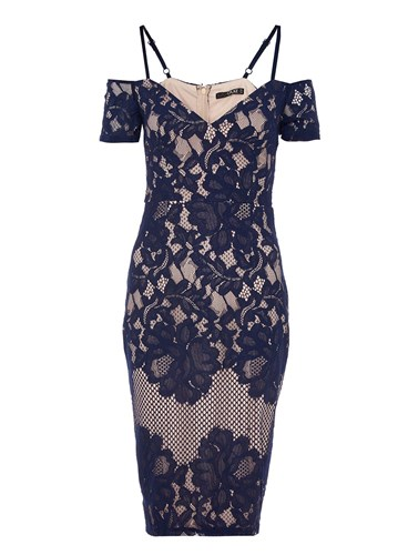 Navy Dress And Nude Cold Shoulder Midi Blue Quiz R7xPw7