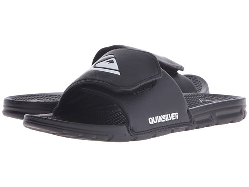 Quiksilver Shoreline Adjust Black Black White Slide Shoes PJaorHk