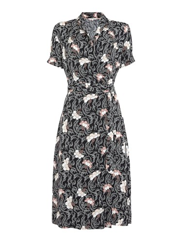 Part Two Kaisa Patterned Tie Dress Black DTVcChqCpp
