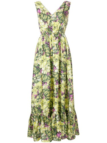 MSGM Long Print Green Dress Floral Length SgSxrZq