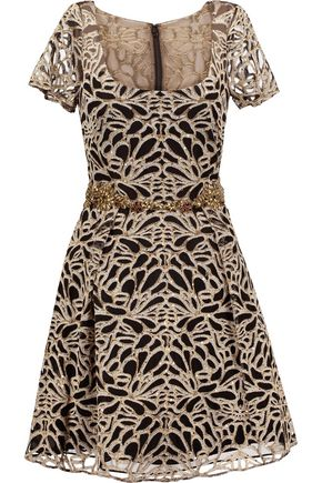 Marchesa Embroidered Tulle Mini Dress Gold pYl8x