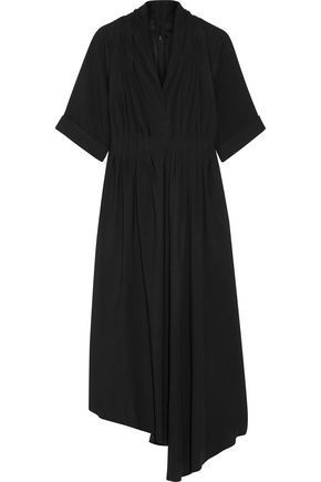 Crepe Lippes Adam Midi Asymmetric Effect Wrap ADAM Dress by Black xAYywU