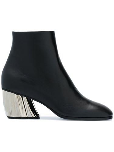 Leather Contrast Schouler Proenza Ankle Black Boots Heel w4RvFqX