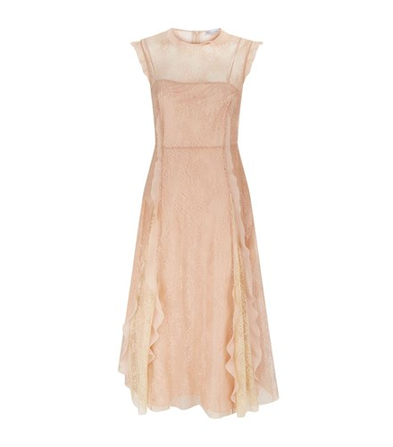 Nude Valentino Dress Lace RED Ruffle Trim pqTYqxAX