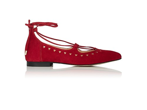 Barneys New York Women's Perforated Suede Lace Up Flats Red mBI9b4N3z