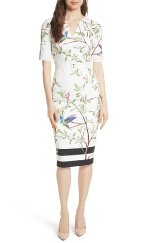 Ted Baker London Highgrove Body Con Dress White lNqYAc