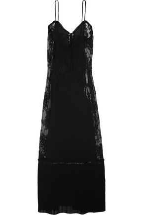 Black by Dress McQ McQueen Maxi Lace Chiffon Alexander Paneled Tnq8gx6O
