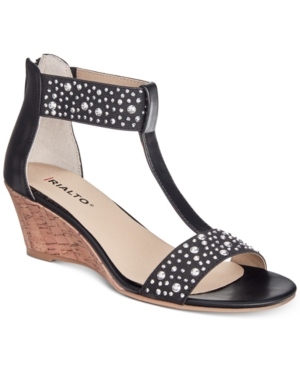 Rialto Cleo Embellished Wedge Sandals Women's Shoes Black bxCByE