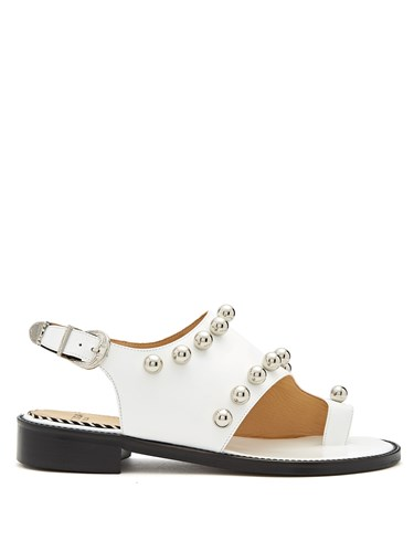 Toga Sandals Slingback Embellished Leather White ZqwOpZ4r