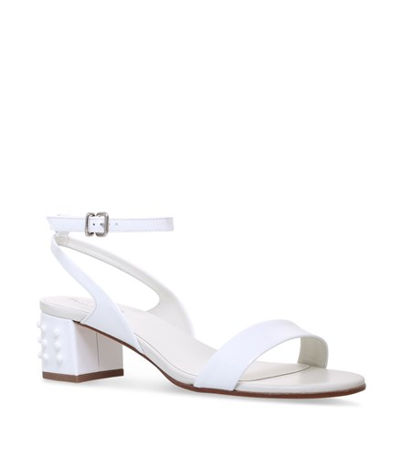 Stud Leather Heel 50 Sandals Tod's White f5qPvvx