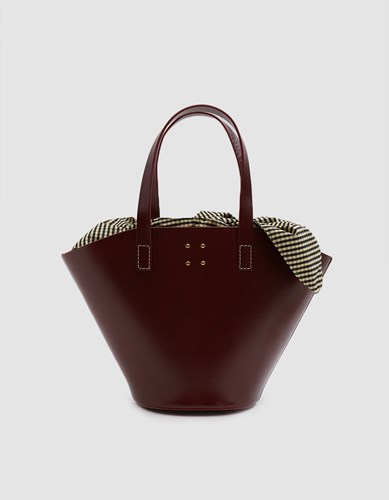 Insert Bordeaux With Trademark Basket Large Bag Leather Gingham wgYfqv7