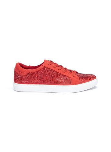 'Kam' Kenneth Embellished Sneakers Swarovski Cole Red Crystal Suede 8AwrA5xHq