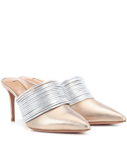 Aquazzura Vous 50 Leather Rendez Metallic Mules rgrqxn15wv