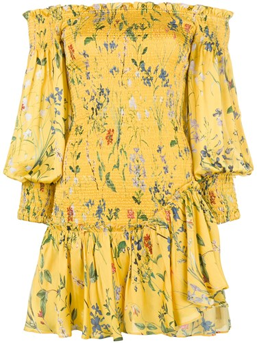 Dress Yellow Floral Shoulder Alexis Off Ruched Orange And WAIqRXR