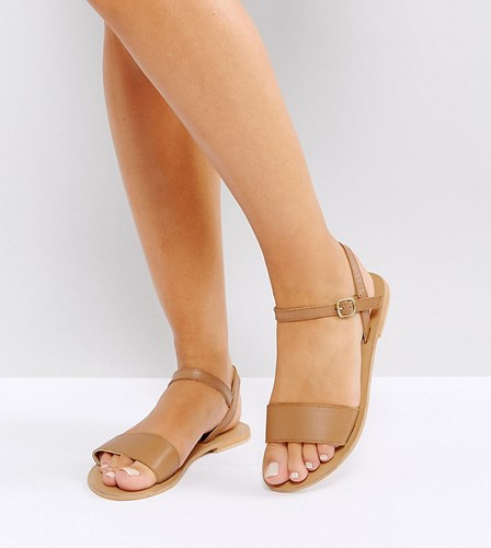 Wide Sandals Tan Flat Fliquey Fit Asos Leather CqzP05Cw