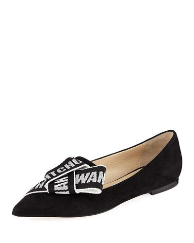 Flat Jimmy Black White Logo Choo With Suede Gleam Bow qqBt7z