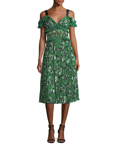 Self-Portrait Cold Shoulder Floral Print Midi Dress With Pleats And Frills Green y1K8z