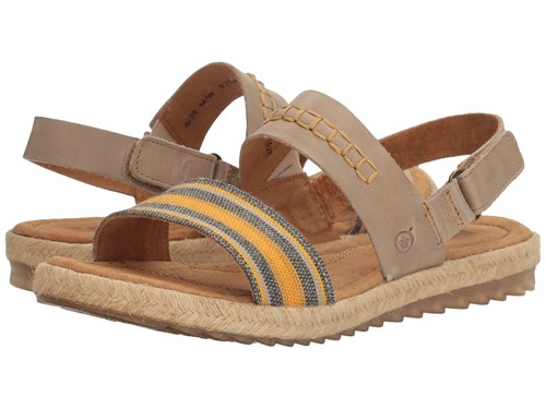 Børn Vigan Light Grey Striped Fabric Combo Sandals Tan xNDw16