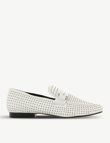 Steve Madden Kast Studded Leather Loafers White Leather KHBubZWM