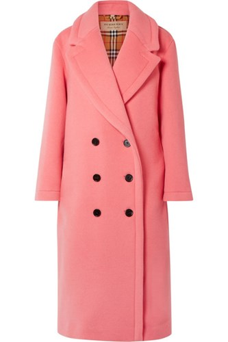 Oversized Double Breasted Wool And Cashmere Blend Coat Pink