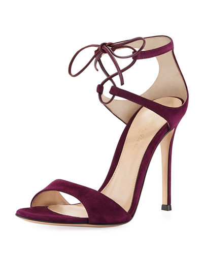 Gianvito Rossi Strappy Suede 105Mm Lace Up Sandal Wine igZPEONg